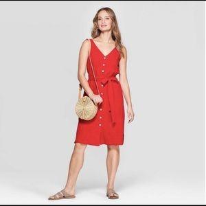 Universal Thread Button Down Sleeveless Red Dress